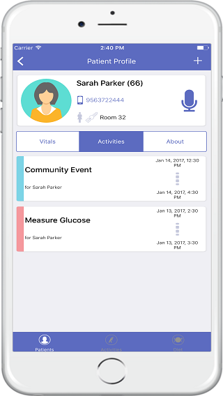 Manage patient events and their activity log