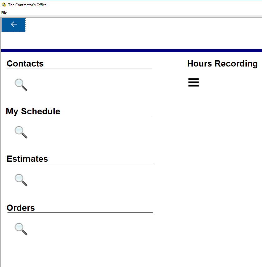 Contractor's Office Software - Opening screen for smart phone use