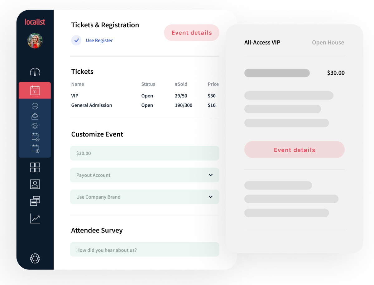 Localist screenshot: No need for a third-party site. Localist streamlines the registration process with Register, a secure and compliant ticketing tool for paid and free events.