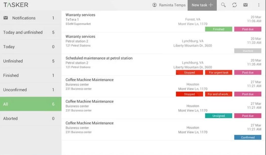 TASKER task tracking screenshot