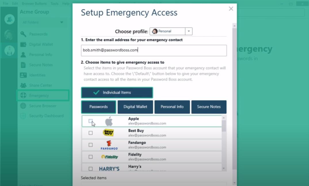 Password Boss emergency access