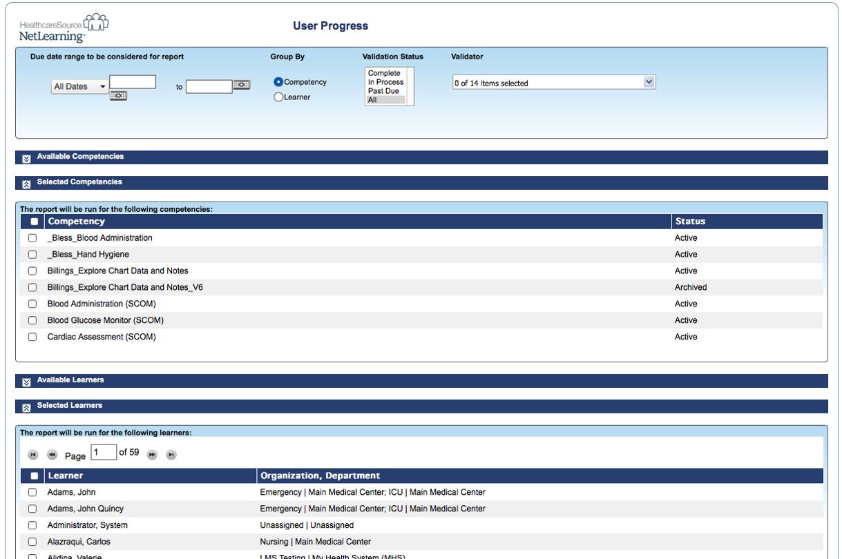 HealthcareSource Learning Management Software - User progress