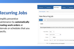 Captura de tela do BlueFolder: Simplify preventive maintenance with recurring jobs at intervals or schedules you specify.