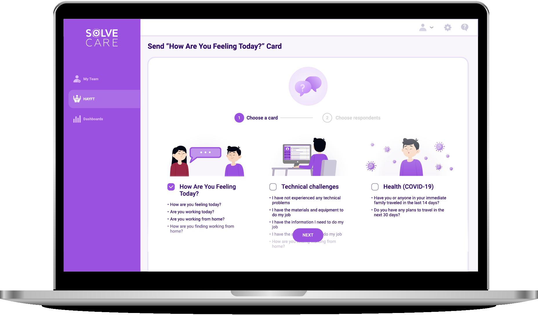 Team.Care Network employee wellbeing status