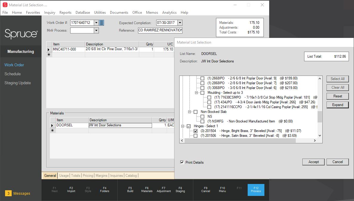 Spruce Software - Work Order Materials List