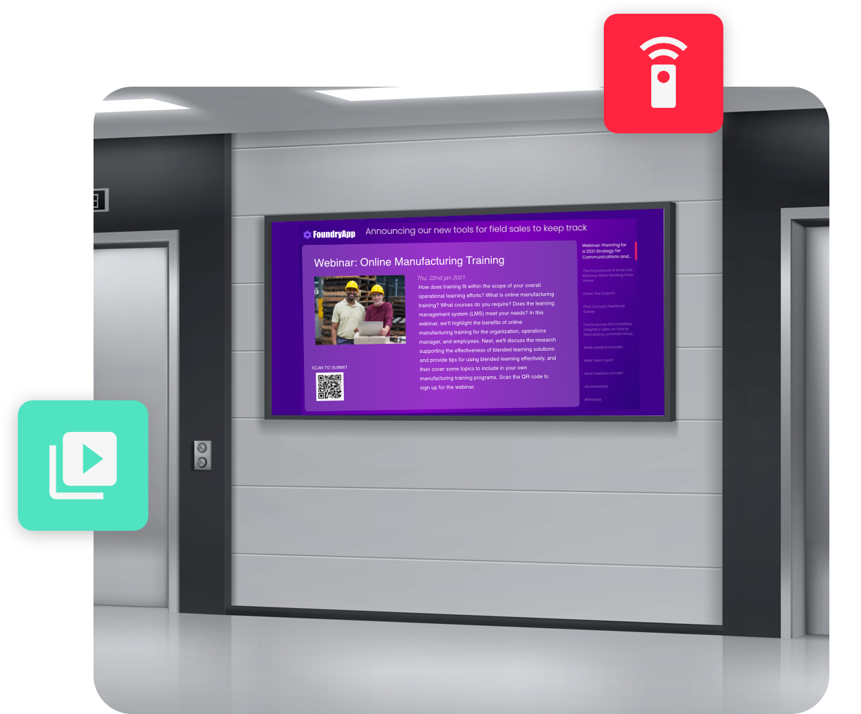 HubEngage Software - Deploy a stunning digital display solution that streams the latest employee communications content to your displays in a multitude of settings. Your employees can scan QR codes to unlock apps that give a more personalized experience on the go!