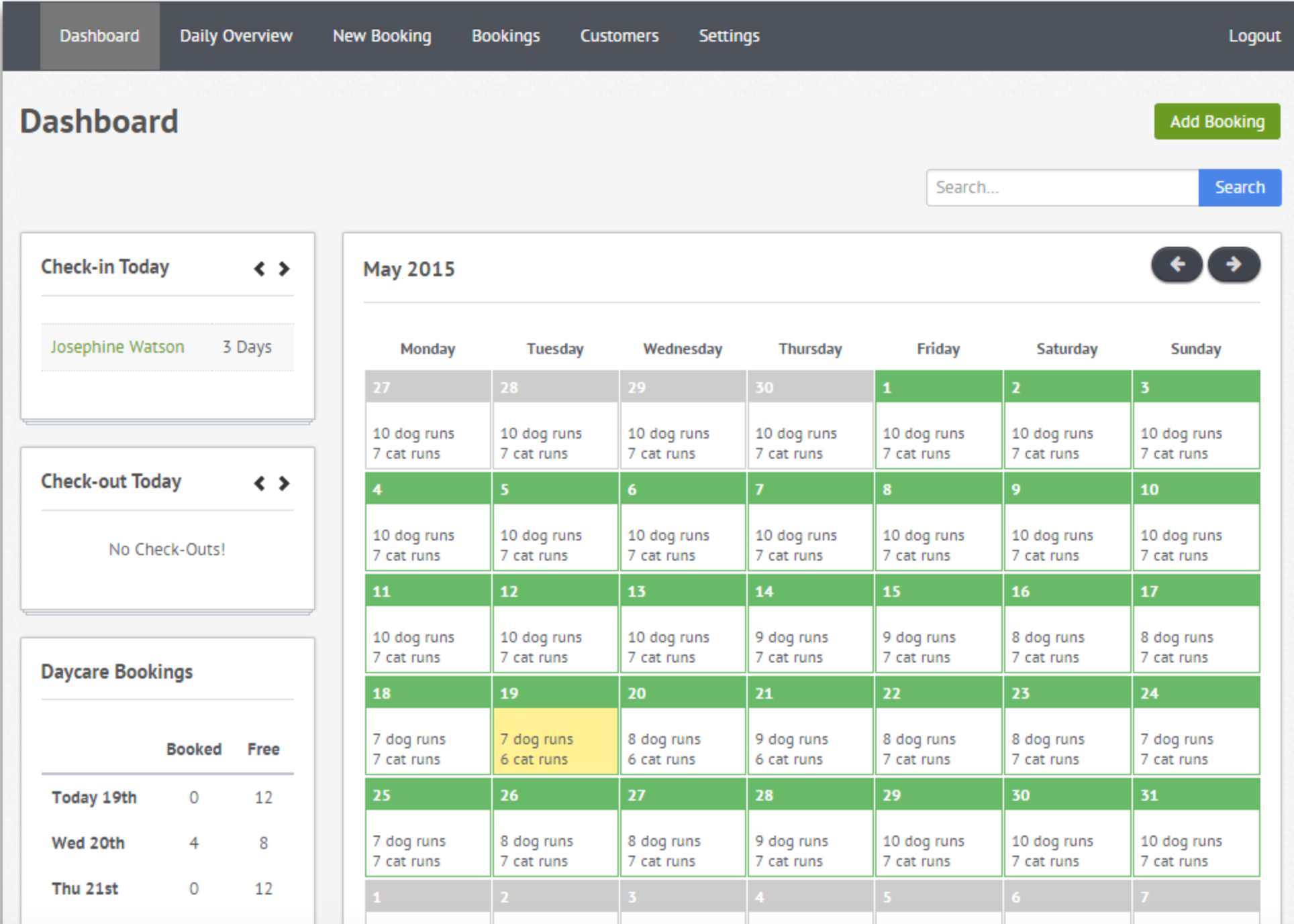 Kennel Booker screenshot: The central dashboard gives users a 360° overview of their current occupancy, and of new bookings entered by staff or requested by customers online from their mobile device