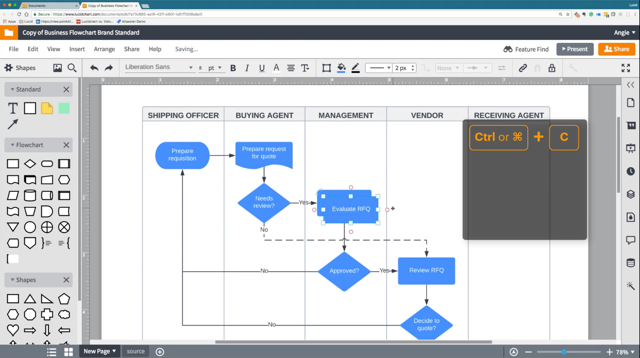 Create and edit business flowcharts