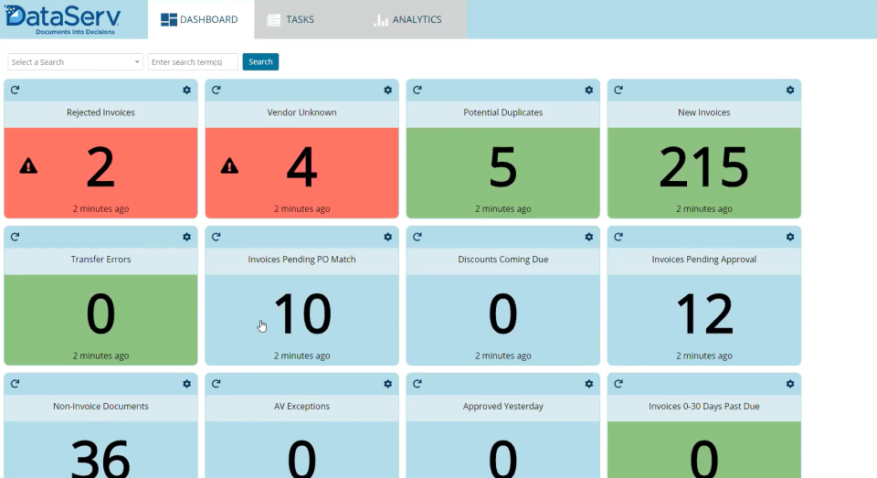 DataServ SaaS AP Automation Software - Dashboard
