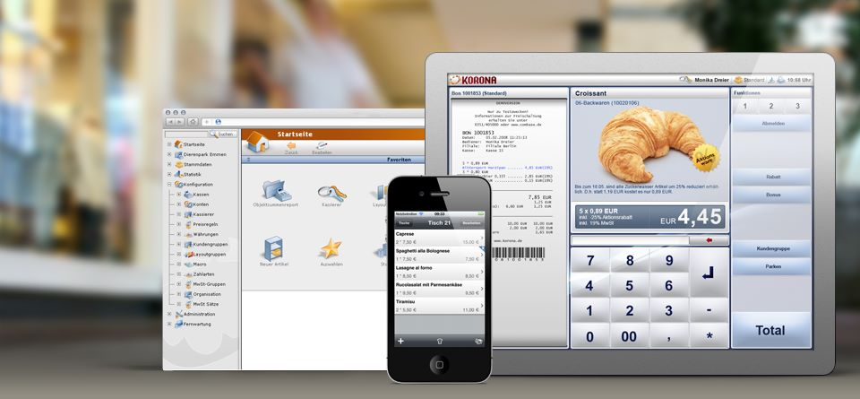 KORONA POS includes a quick service restaurant solution, for vendors of fast food, coffee shops, food trucks, and bakeries The QSR software can also be added to wineries, breweries and other places with both retail and QSR needs.