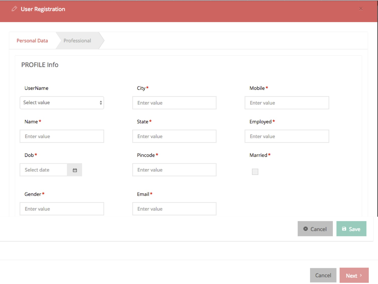 User registration forms can also be created with WaveMaker's templates