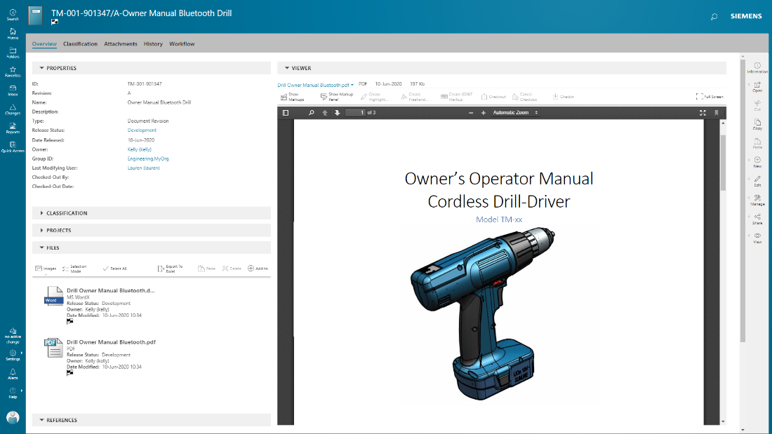 Teamcenter Software - Manage documents in conjunction with product development. Integrated PDF for viewing and markup.