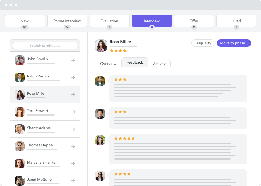 Use Factorial's Applicant Tracking System to streamline the hiring process. Track potential hires so that their data will already be in the system when you make your final decision.