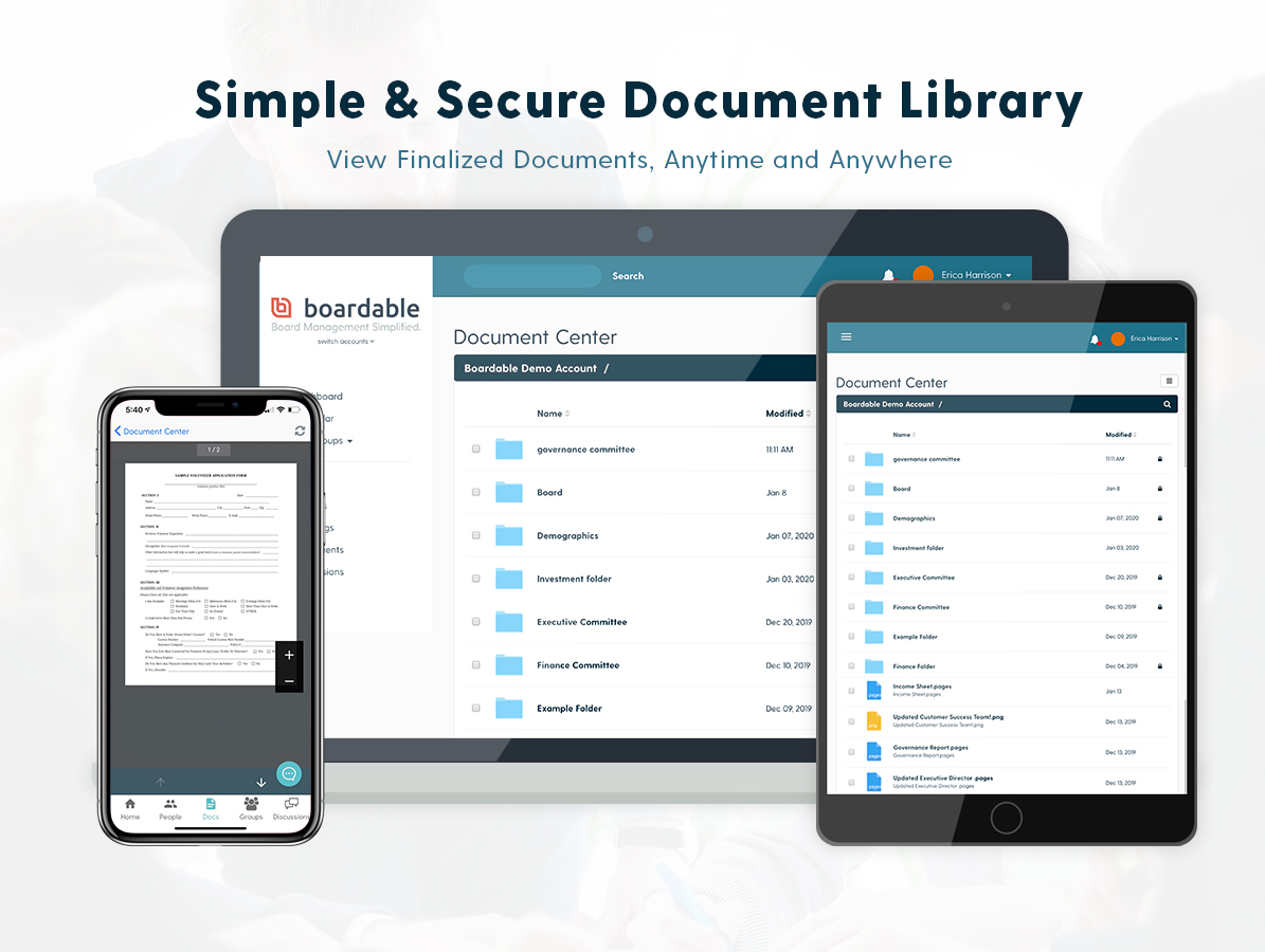 Document Center brings all the files your board needs to one place. You get the simplicity of organizing and distributing documents without digging up email attachments. Your board gets the ease of collaborating on documents anytime, anywhere.