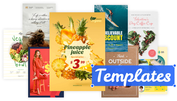 A library of customizable templates are made available within Crello, with the editor offering a myriad of controls and popup menus for editing text and images
