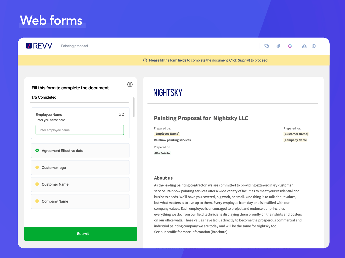 Revv Software - Publish fillable documents on your website using web forms. Every visitor (or whoever you share the link with) can fill, submit, and accept forms.