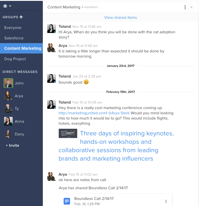 Hive screenshot: Hive includes group chat and direct messaging capabilities