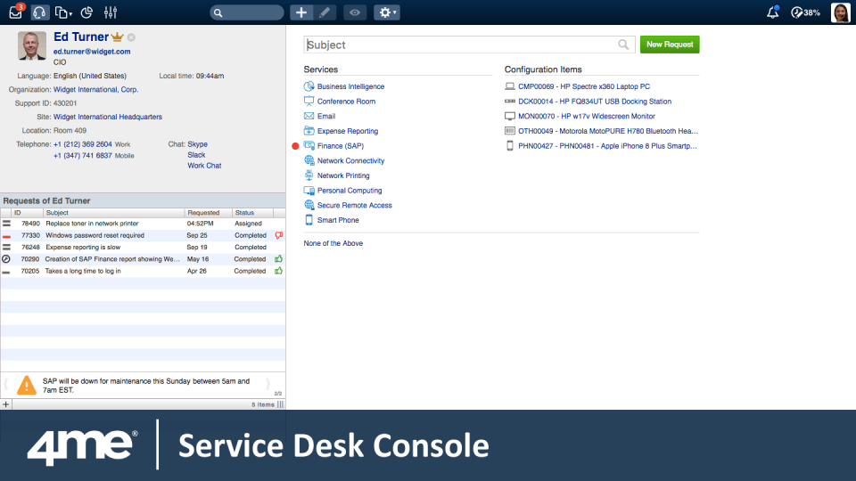 4me Software - Service Desk Console