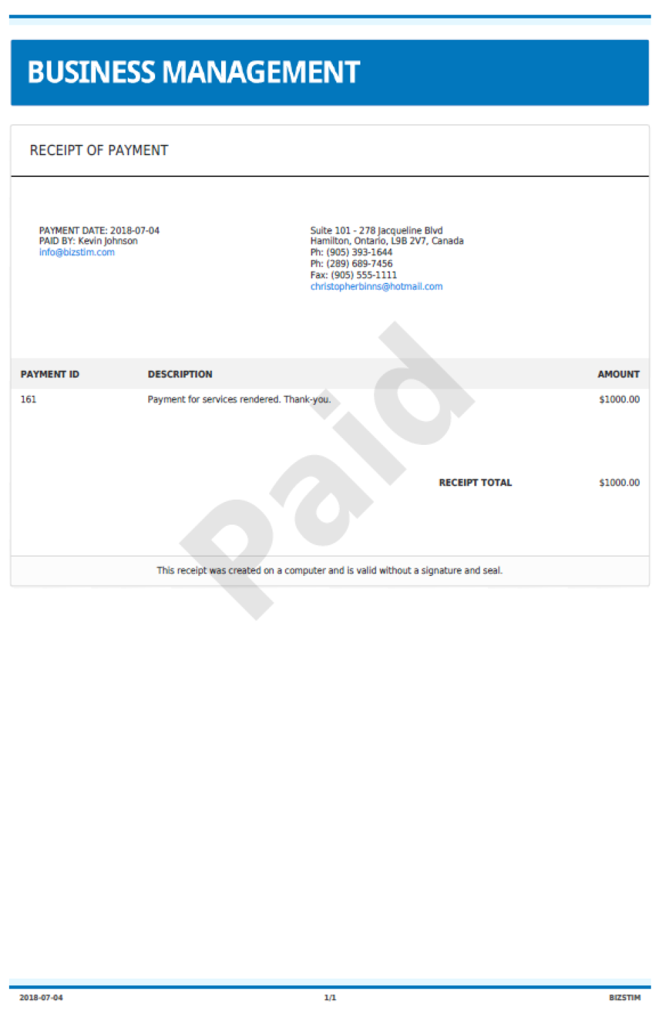 Create receipts and invoices to send to customers, and track whether they are paid or not