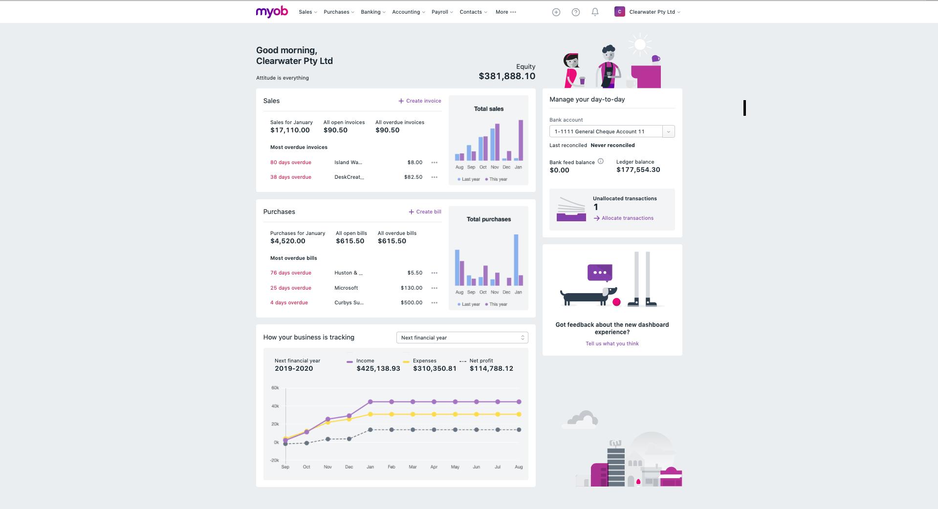 MYOB Essentials Software - Dashboard