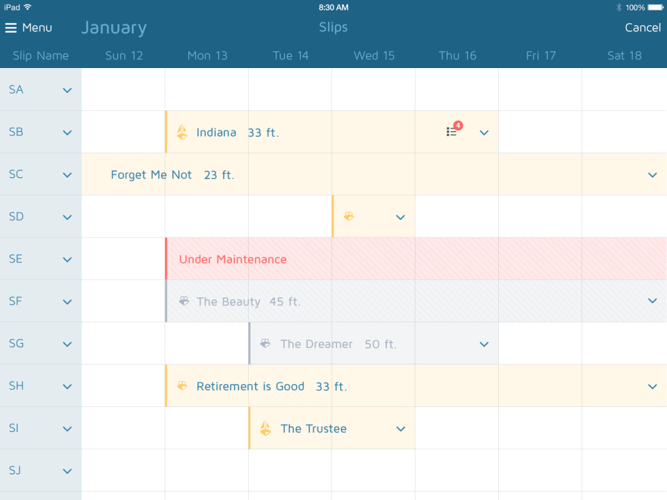 Easily visualize slip reservations on the calendar