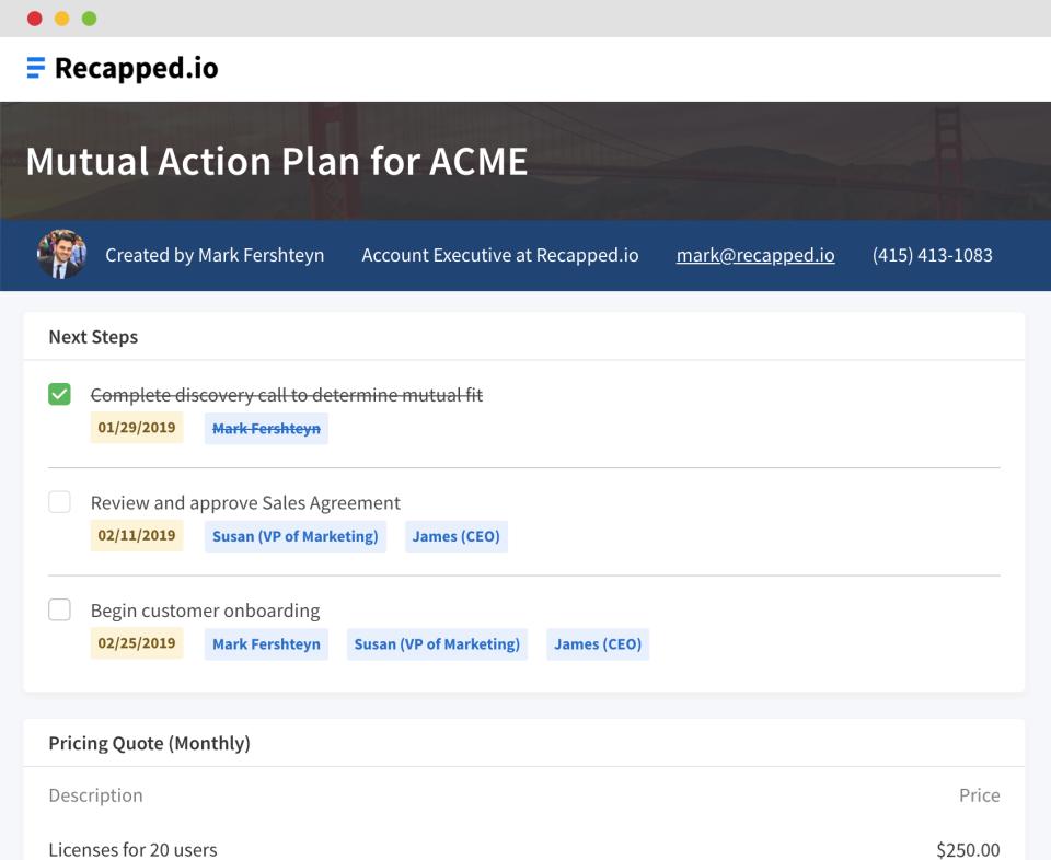 Recapped.io: next steps check-list screenshot