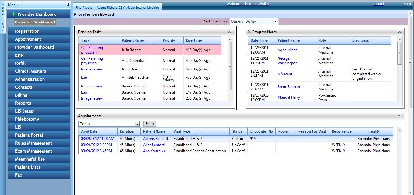 Enablemypractice Software - Provider dashboard