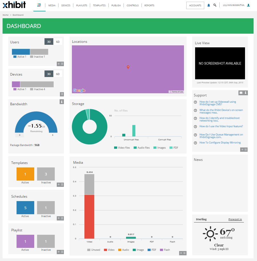 The XhibitSignage dashboard gives you a snapshot of your account i.e shows users, media, storage, templates, schedules, playlists etc. and shows a live view of your screens