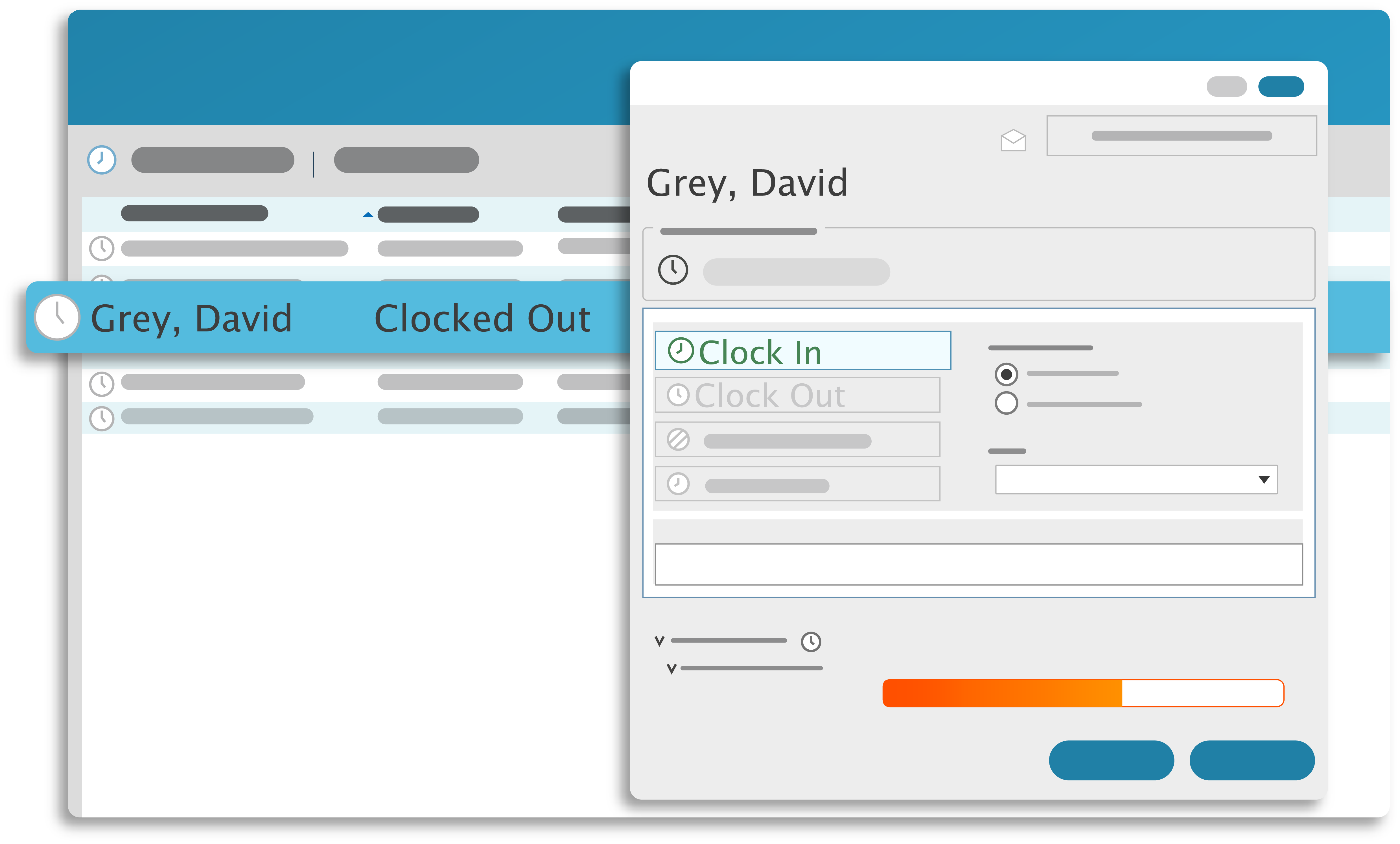 TimeClick's Main Screen. Just click your name, and clock in and out.