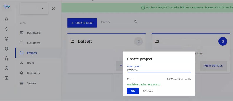 Cloudalize create project