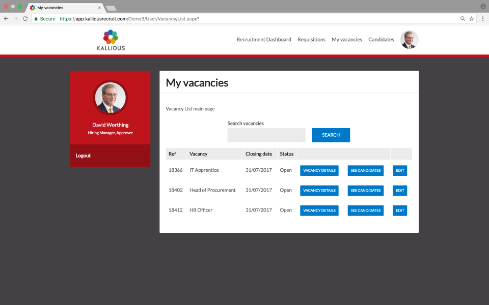 Kallidus Recruit screenshot: The hiring manager portal allows hiring managers to organize and track their vacancies