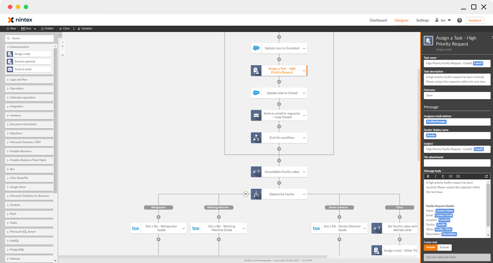 Workflow header screen
