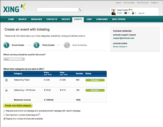 XING Events screenshot: Creating events and tickets in XING EVENTS