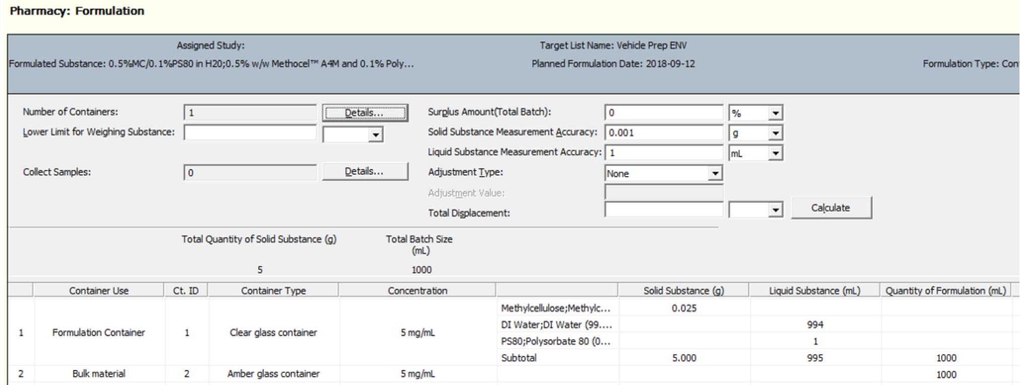 LabWise XD screenshot: Labwise XD pharmaceutical product formulation