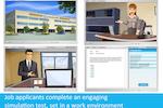 HR Avatar screenshot: Job applicants complete an engaging simulation test, set in a work environment.