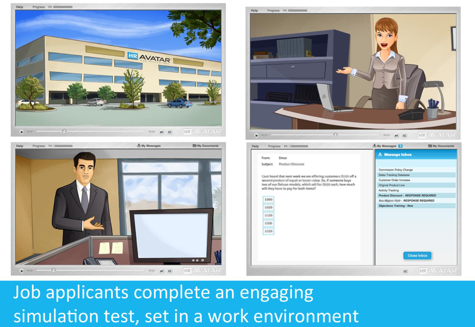 Job applicants complete an engaging simulation test, set in a work environment.