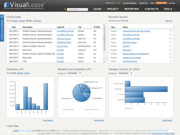 Visual Lease screenshot: Visual Lease gives users an overview of their portfolio's performance in graph form