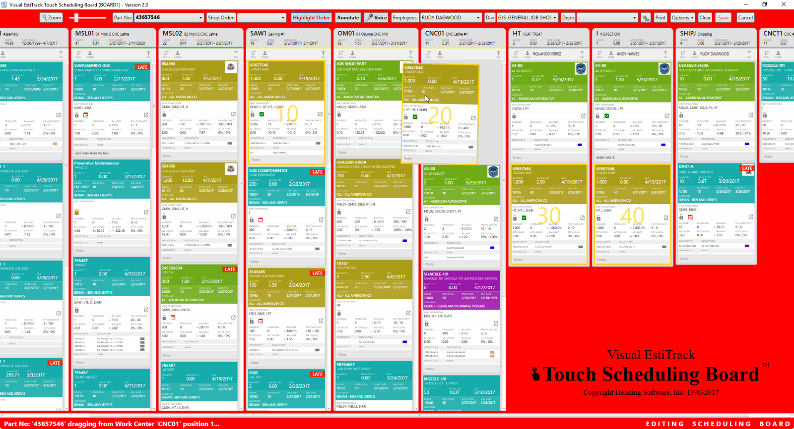 Touch scheduling board