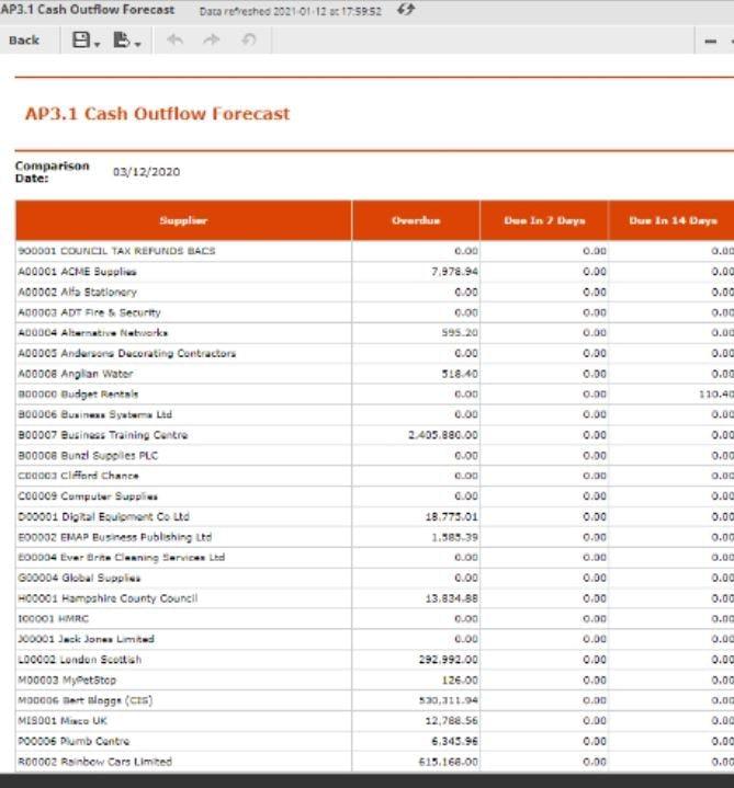 Cloud Financials Software - Cloud Financials cash outflow forecast
