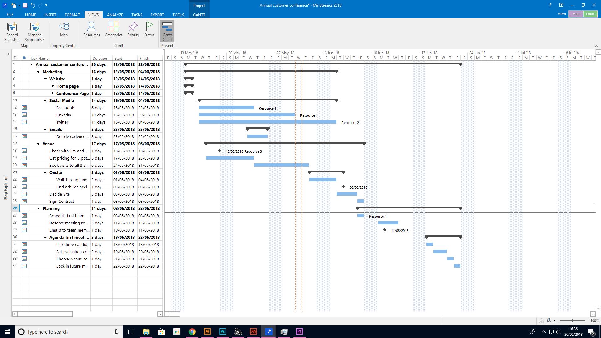 MindGenius Software - Gantt chart
