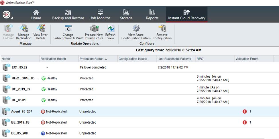 Veritas Backup Exec server reporting