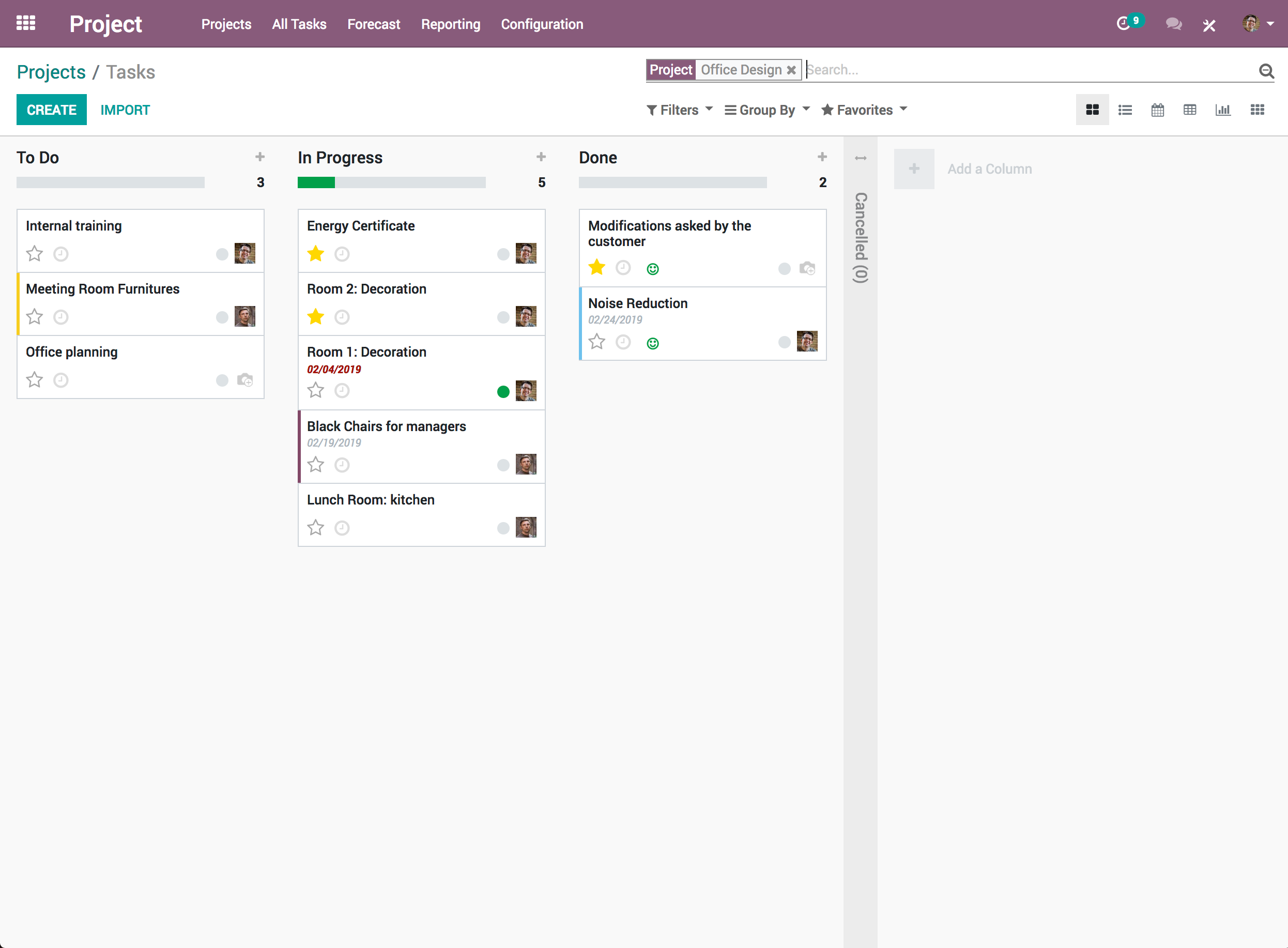 Odoo Project task board screenshot