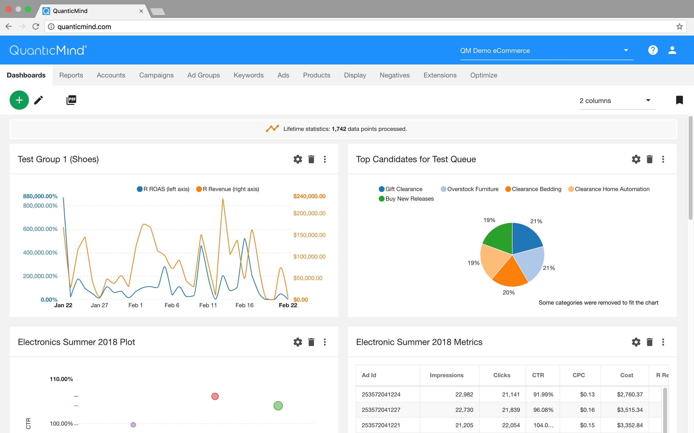 QuanticMind Software - QuanticMind dashboard