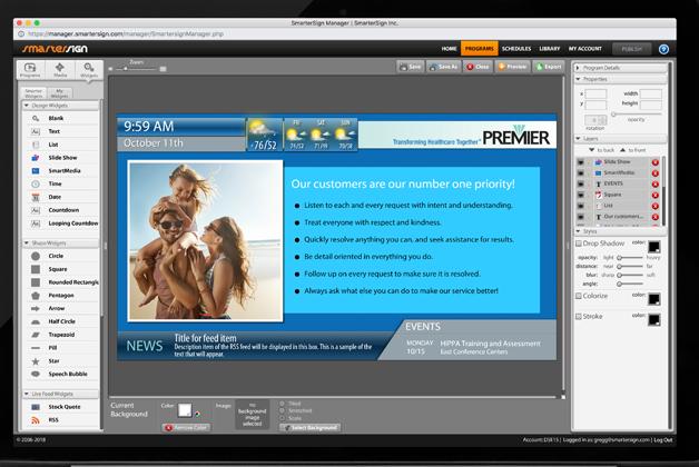 SmarterSign programs screenshot