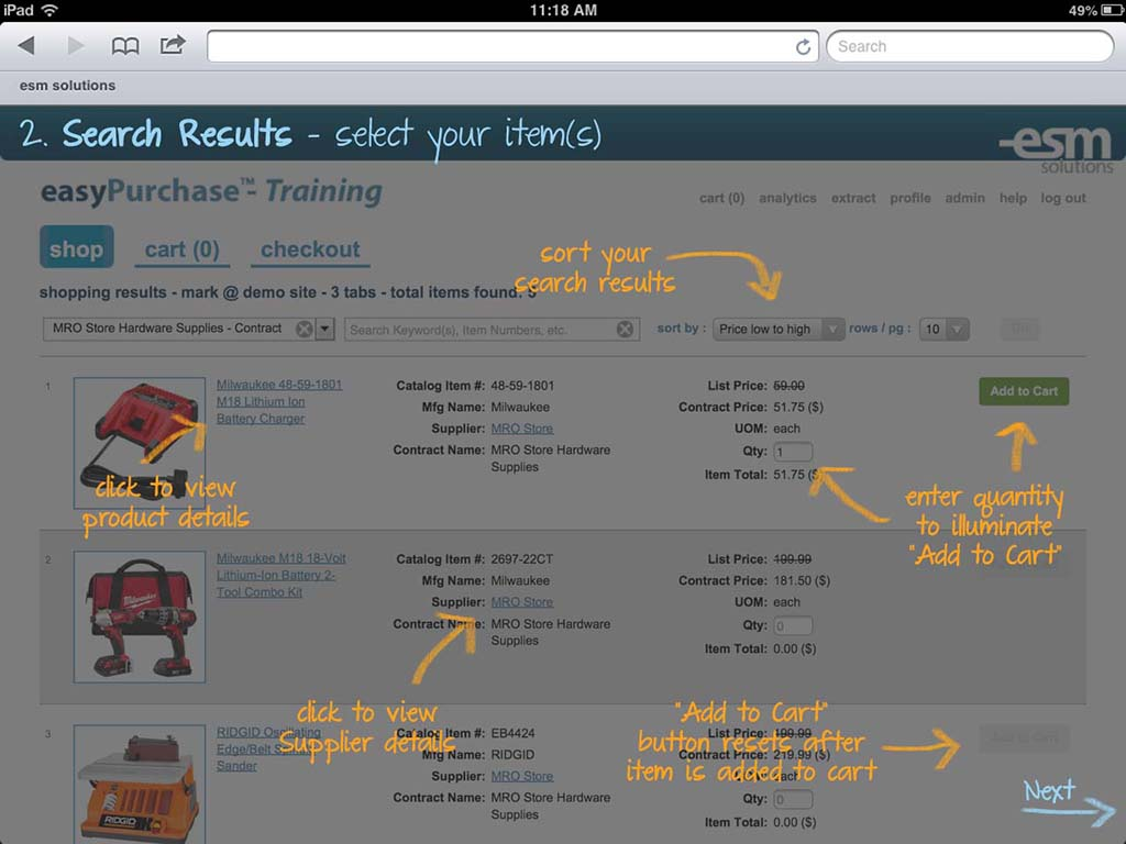 ESM Purchase Software - Search results