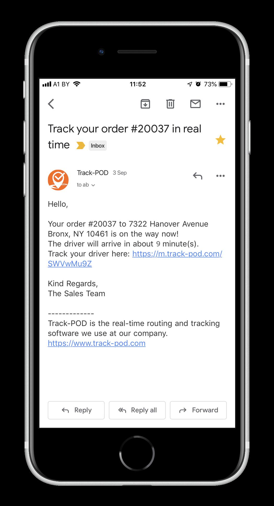 ETA notification to customer - Track-POD