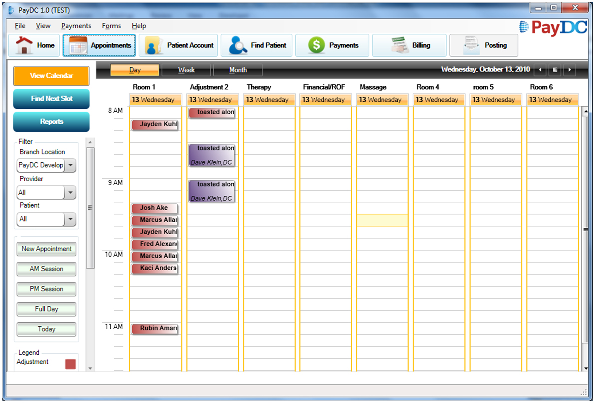PayDC Chiropractic Software Software - Scheduling Screen