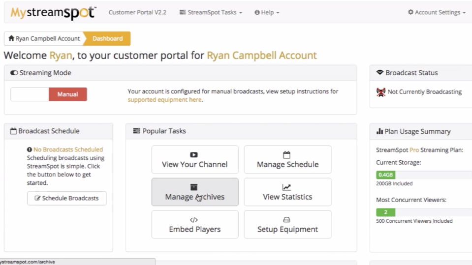The customer portal dashboard displays popular tasks, broadcast schedules, status, and more