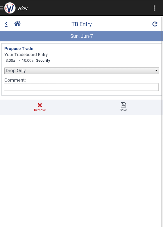 Employees can add the shifts they wish to switch or drop to the tradeboard
