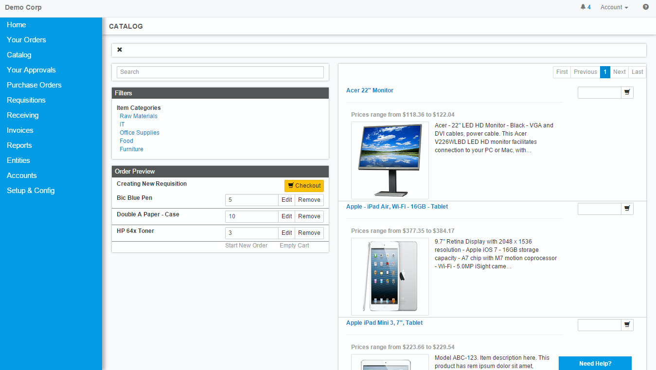 Individual users or departments can requisition items directly from on-line catalogs or in free-form mode.